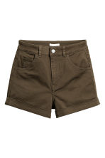 High-waisted twill shorts - Dark khaki green - Ladies | H&M 2